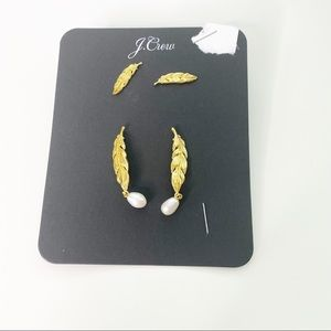 J. Crew Gold Feather Pearl Earrings